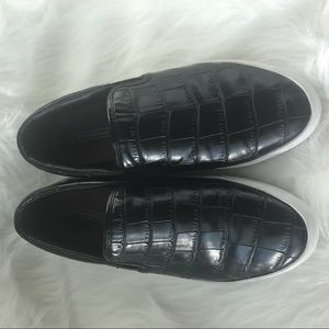 Zara Flat slide on tennis shoes croc leather